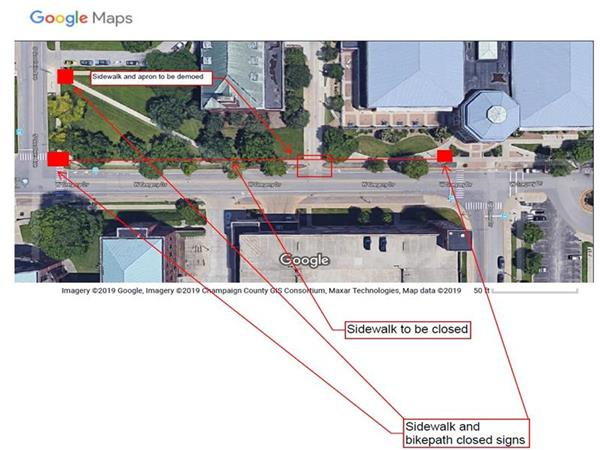 Approved Sidewalk Bike Path Closure - Sidewalk on Gregory at the South entrance of Freer Hall