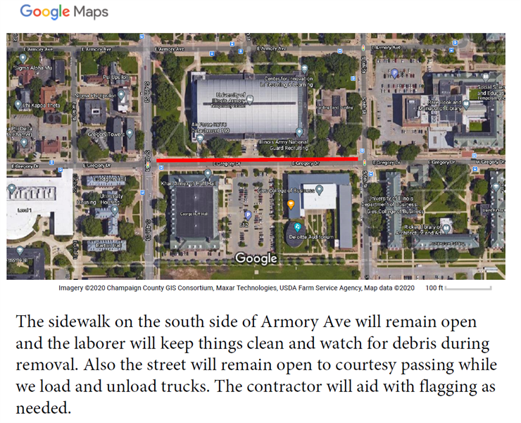 Approved Sidewalk Closure - Gregory Dr on north sidewalk from 4th to 6th St  from 9-24-20 to 10-1-20