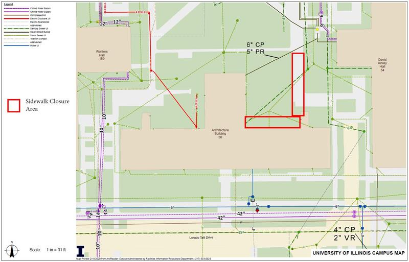 Approved Sidewalk Closure - Sidewalk on north of the Architecture Building from 3-16-20 to 3-20-20 (2)