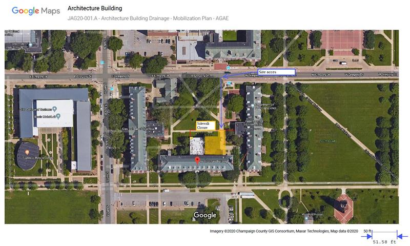 Approved Sidewalk Closure - Sidewalk on north of the Architecture Building from 3-16-20 to 3-20-20
