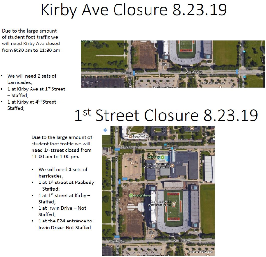 Approved Street Closure - Kirby from 1st to 4th and 1st from Kirby to Peabody on 08-23-19