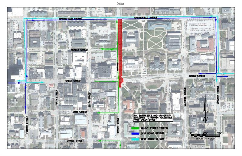 Champaign Street Closure - MCORE Project 4 Wright St and Green St 2