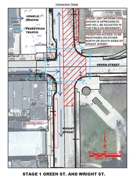 Champaign Street Closure - MCORE Project 4 Wright St and Green St