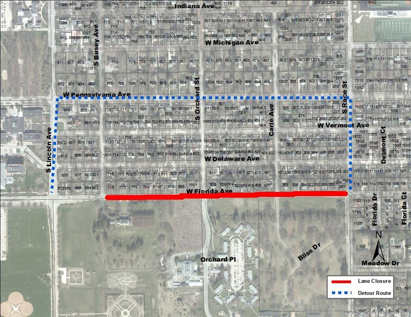 Urbana Traffic Closure - eastbound lane of West Florida Avenue will be closed to thru traffic between South Busey Avenue and South Race Street